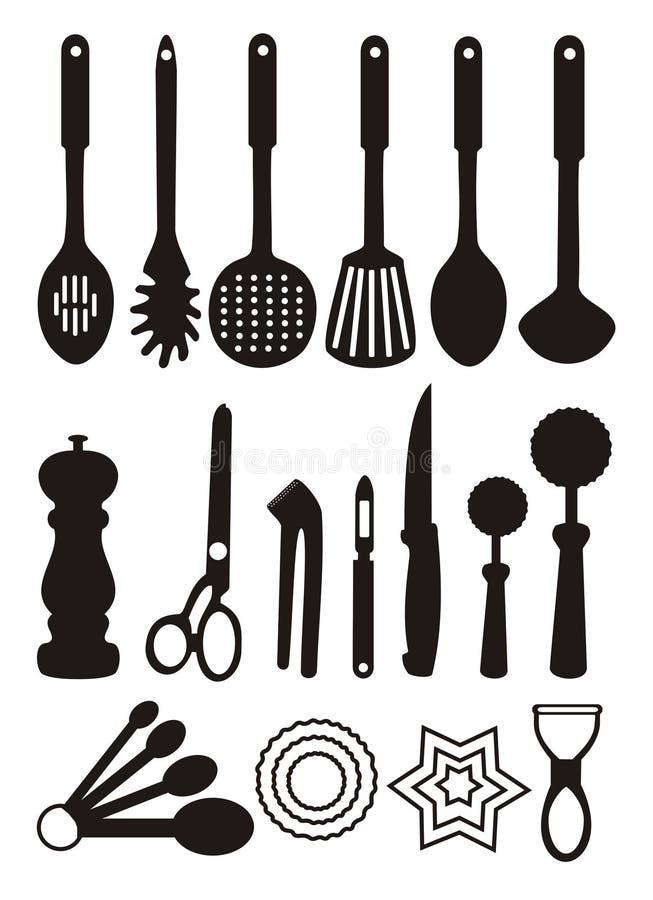 Utensilios de la cocina stock de ilustración