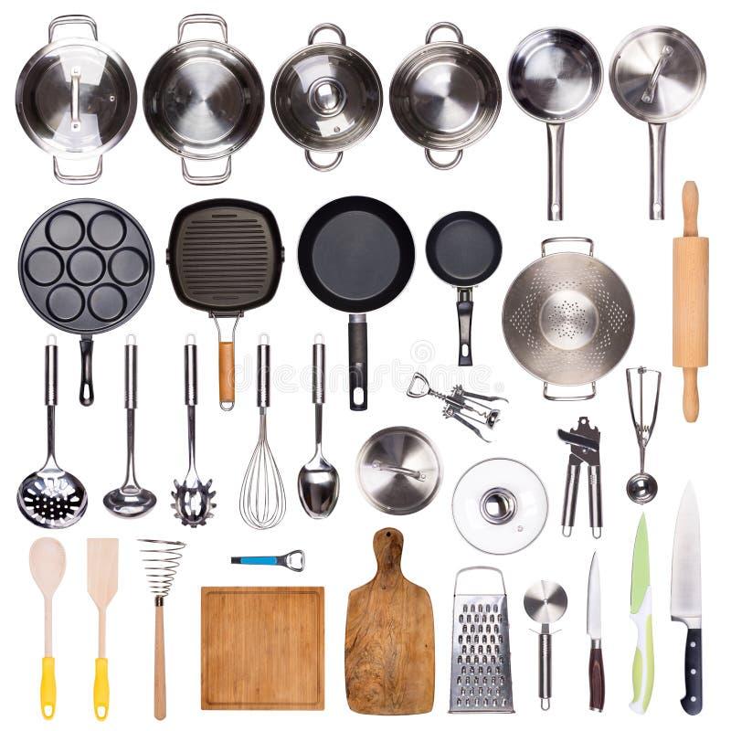 Utensilios de la cocina aislados en el fondo blanco imagen de archivo
