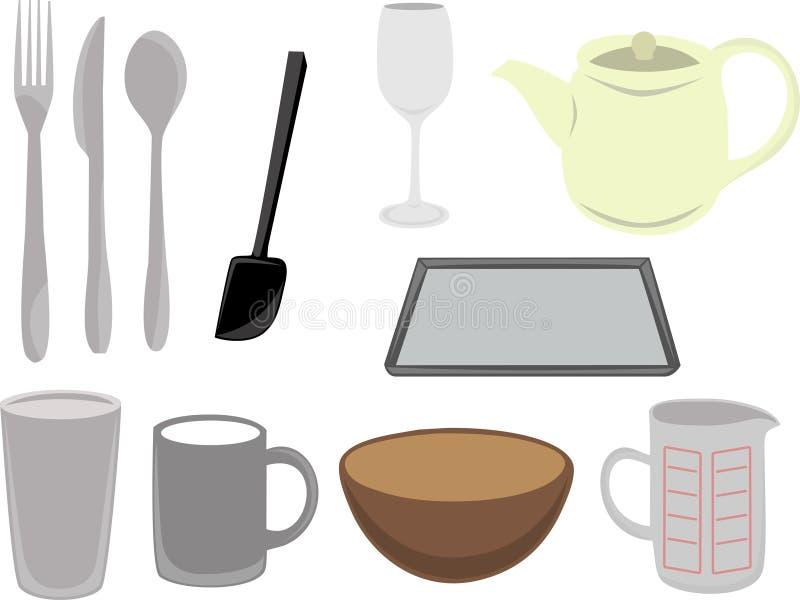 Utensilios de la cocina del vector y co stock de ilustración