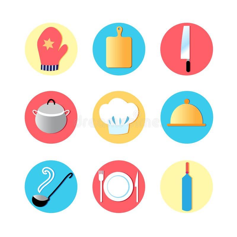 Utensilios de la cocina e iconos planos de la cocina stock de ilustración
