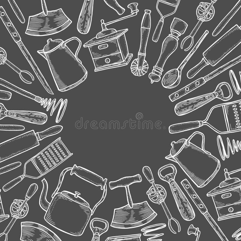 Utensilios de la cocina fijados ilustración del vector