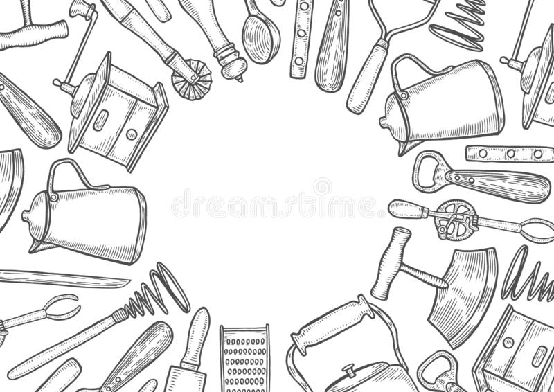 Utensilios de la cocina fijados stock de ilustración
