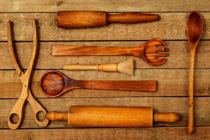 Utensilios de madera de la cocina fotografía de archivo libre de regalías