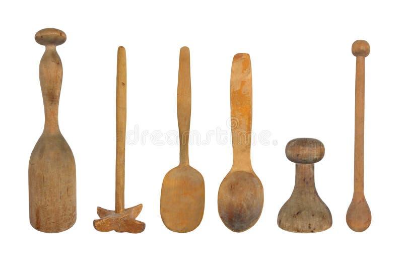 Utensilios de madera de la cocina de la vendimia aislados fotografía de archivo