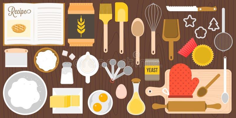 Utensilios e ingredientes para la panadería en fondo de madera en la visión superior stock de ilustración
