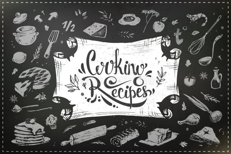 Utensilios exhaustos de la comida y de la cocina de la mano Diseño de la tiza ilustración del vector