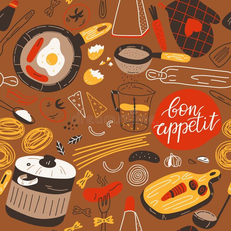 Utensilios inconsútiles de la cocina del modelo con los ingredientes Ejemplo coloreado a mano en estilo del bosquejo stock de ilustración