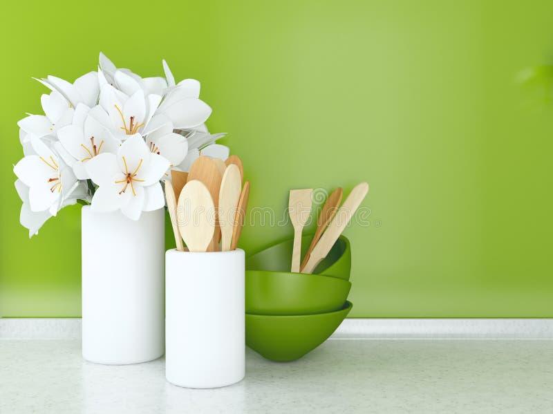 Utensilios y flores de madera fotos de archivo libres de regalías
