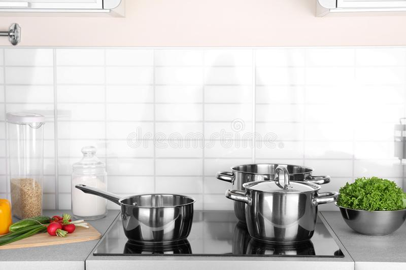 Download Utensils For Cooking Classes On Electric Stove Stock Image   Image  Of Decor, Dish