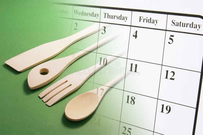utensils för kalendermatlagningsida royaltyfria foton