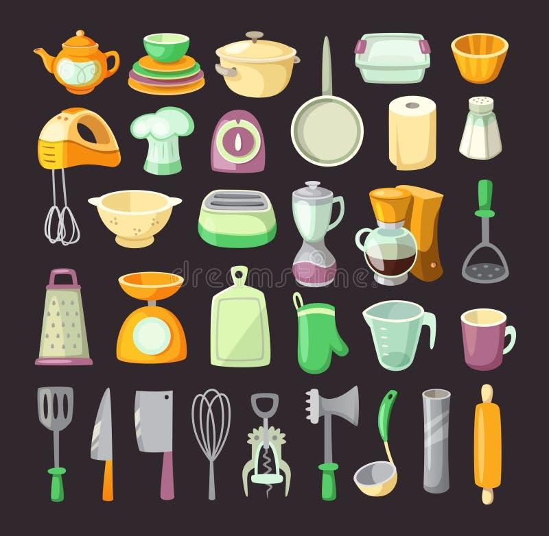 utensils för service för anddatalistkök trevliga stock illustrationer