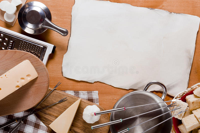 Utensils and food Fondue royalty free stock image