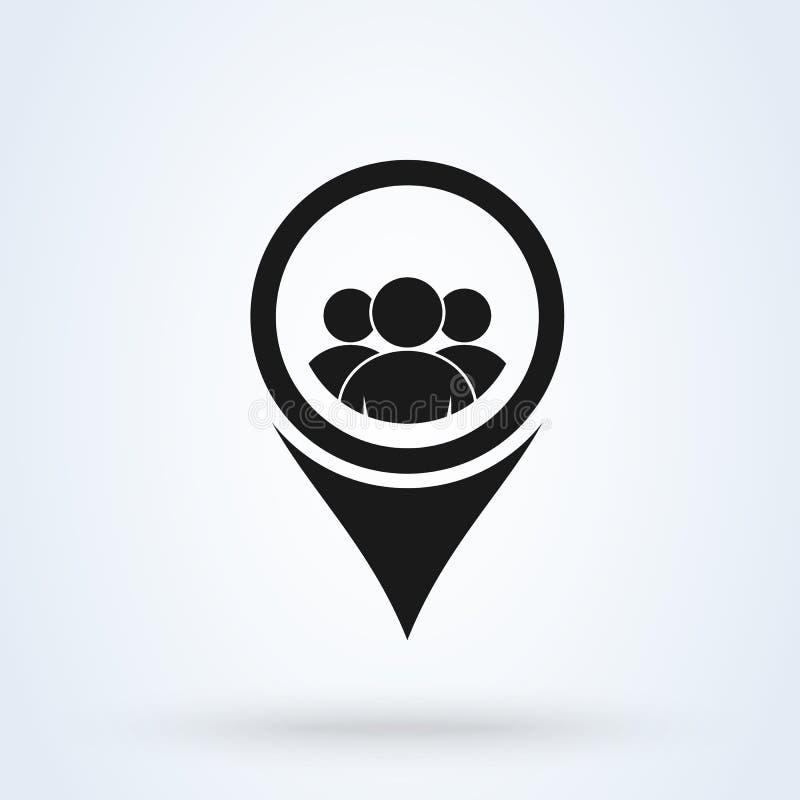 Utente e gruppo di posizione della mappa Illustrazione moderna di progettazione dell'icona di vettore semplice illustrazione vettoriale