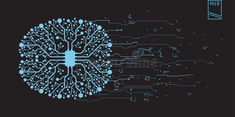 Utente grafico virtuale futuristico di tocco di concetto del cervello illustrazione vettoriale