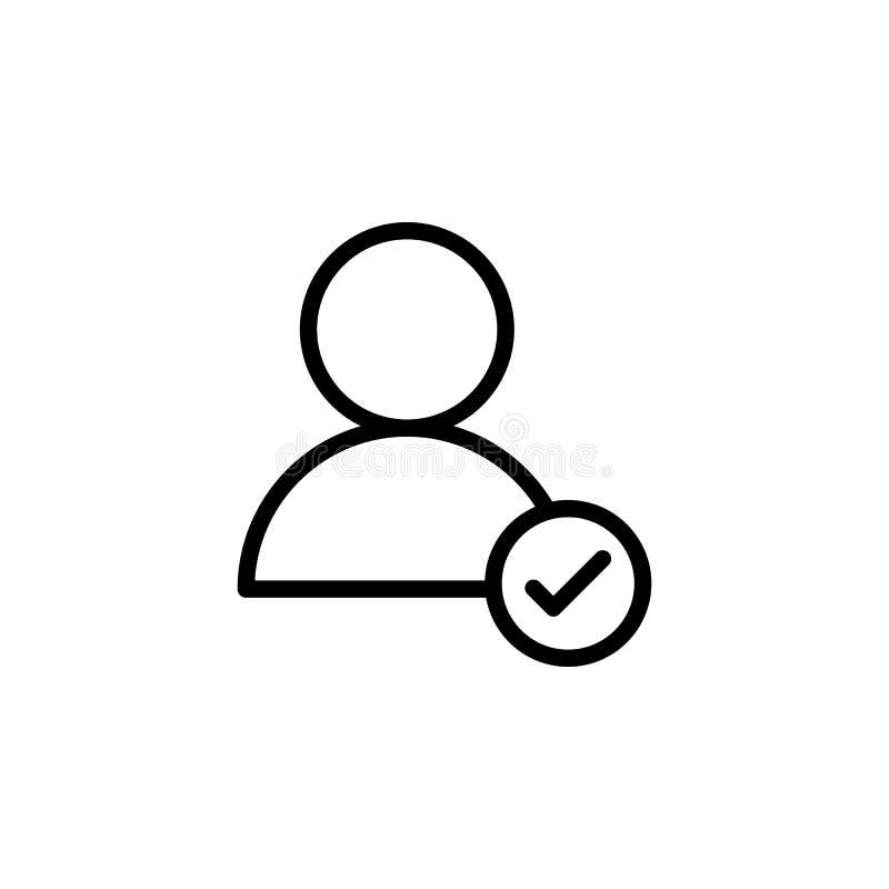 Utente, icona del segno di spunta Può essere usato per il web, il logo, il app mobile, UI, UX illustrazione vettoriale
