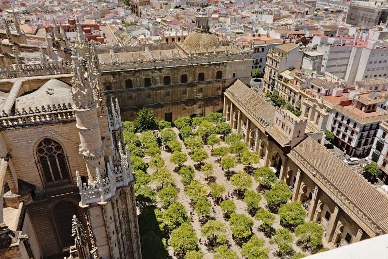 Uteplats de los Naranjos, den inre borggården med träd av den Seville domkyrkan av St Mary av ser royaltyfria bilder