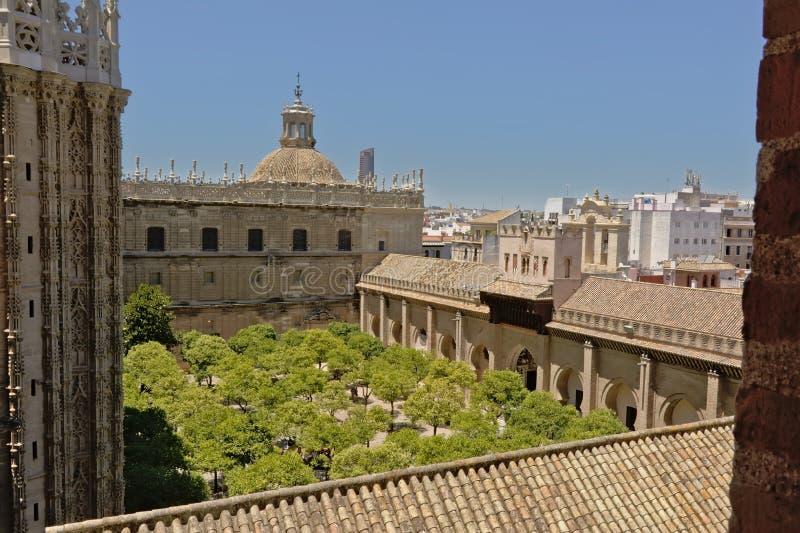 Uteplats de los Naranjos, finnereborggård med träd av den Seville domkyrkan av St Mary av ser arkivfoton