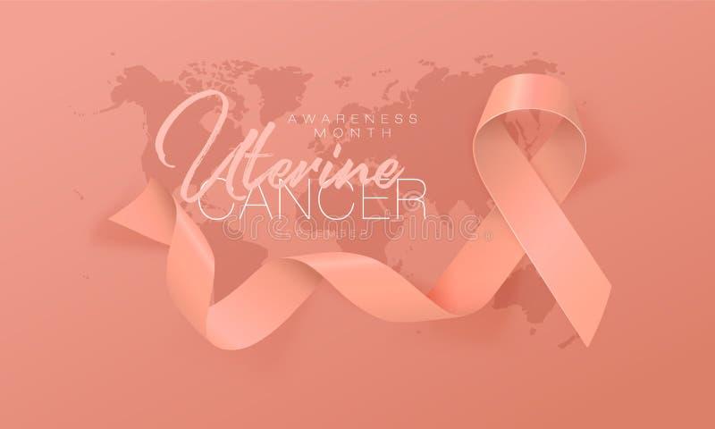 Uterine Cancer Awareness Calligraphy Poster Design. Realistic Peach Ribbon. September is Cancer Awareness Month. Vector. Illustration stock illustration