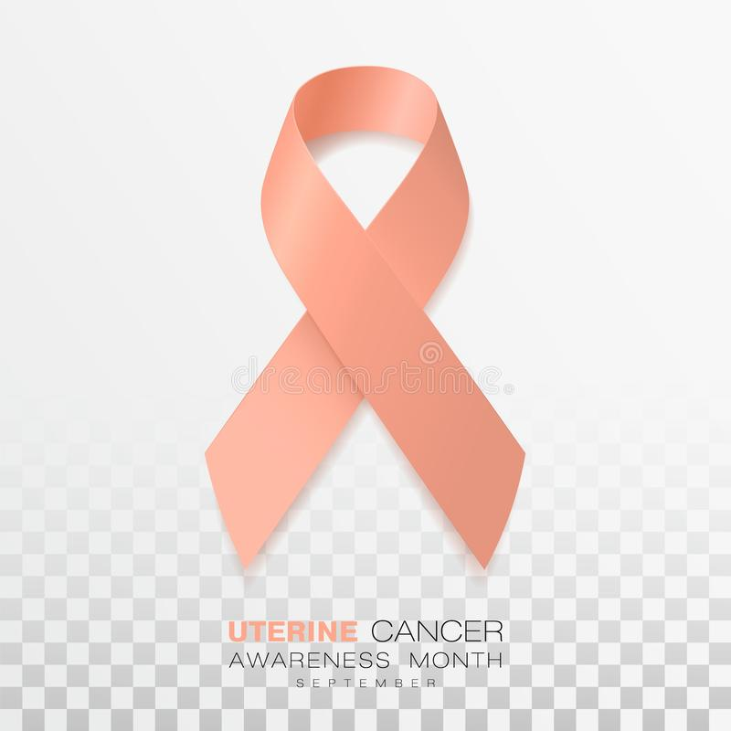 Uterine Cancer Awareness Month. Peach Color Ribbon Isolated On Transparent Background. Vector Design Template For Poster stock illustration