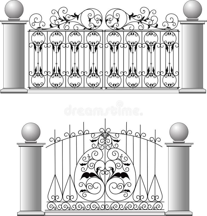 Utfärda utegångsförbud för ett staket ett galler huset stock illustrationer
