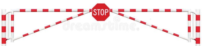 Utfärda utegångsförbud för vägbarriärCloseup, åttahörnig stång för port för stoppteckenkörbana arkivfoto