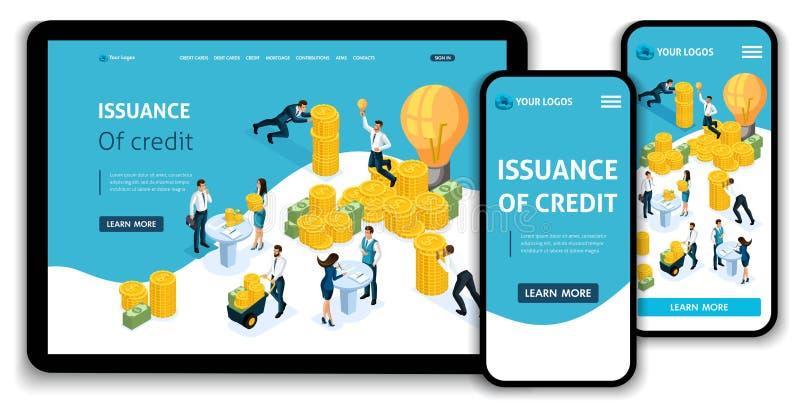 Utfärdande för begrepp för sida för Websitemalllandning isometriskt av kreditering, kundtjänst i banken, servicekorridor, bankcli stock illustrationer