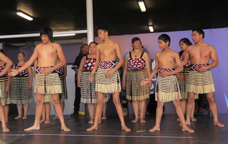 utför maori nya för danshaka kriger zealand royaltyfria bilder