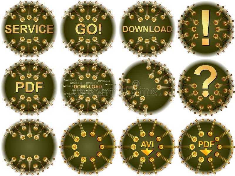 Utför service knappen royaltyfri illustrationer