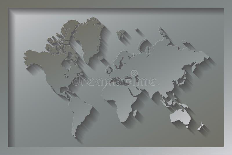 Utföra i relief världskarta vektor illustrationer
