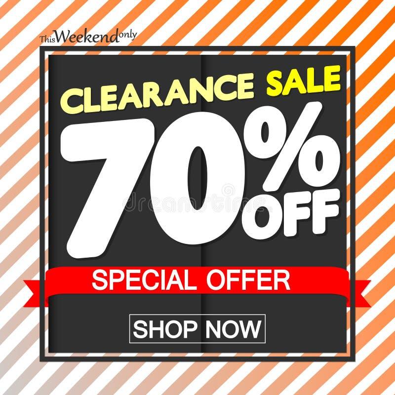 Utförsäljning 70% av, affischdesignmall, specialt erbjudande, vektorillustration vektor illustrationer