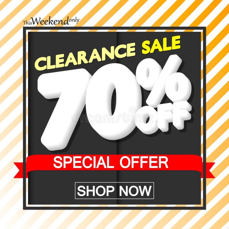 Utförsäljning 70% av, affischdesignmall, specialt erbjudande, vektorillustration royaltyfri illustrationer