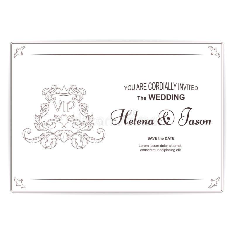 Utförs den vita vykortet för elegant horisontaltappning för bröllopinbjudan, prydnaden i den viktorianska stilen För design stock illustrationer