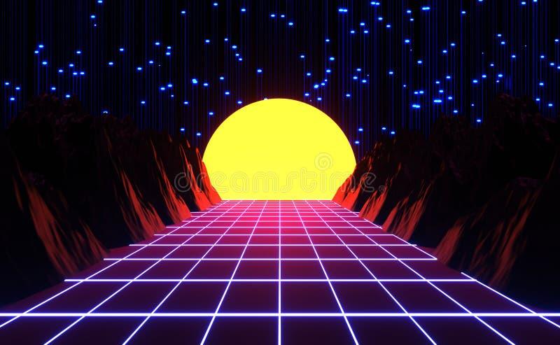 Utformad neon80-tal, retro lek för tappning och musiklandskap, ljus och berg vektor illustrationer