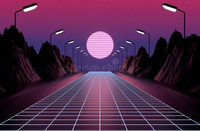 Utformad neon80-tal, retro modiga landskap för tappning, ljus och berg royaltyfri illustrationer