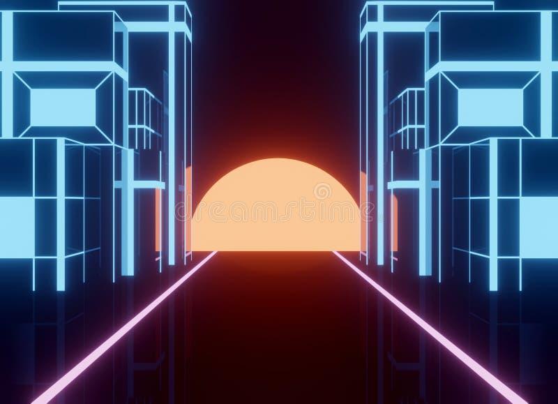 Utformad neon80-tal, retro modigt landskap för tappning med skinande byggnad vektor illustrationer