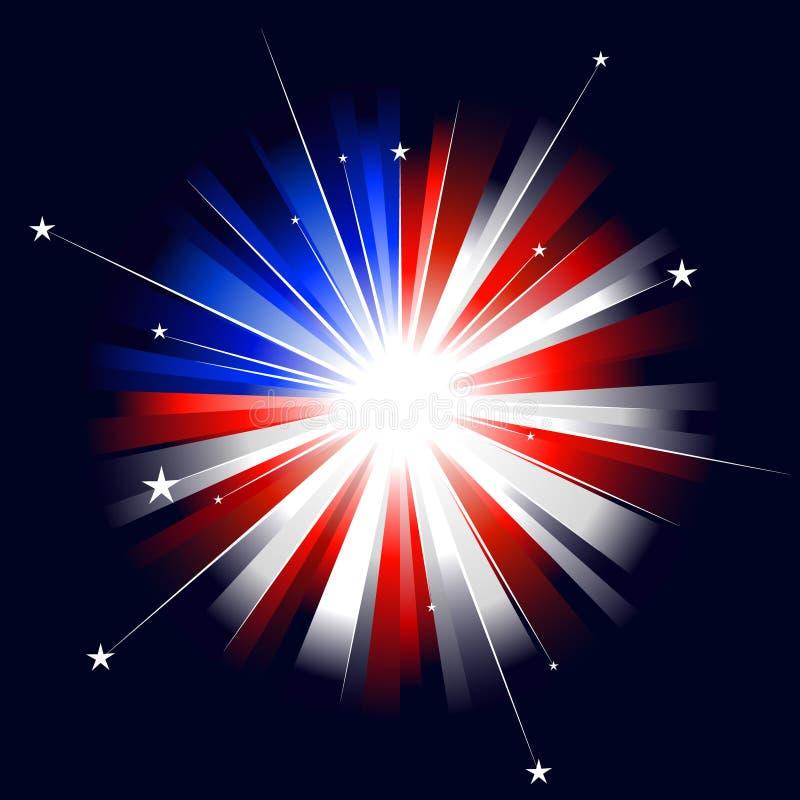 utformad sunburst USA royaltyfri illustrationer