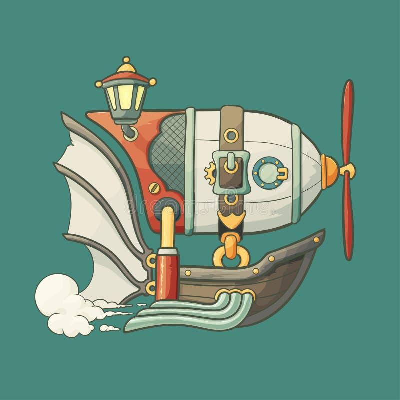 Utformad tecknad filmsteampunk flyga luftskeppet med vektor illustrationer