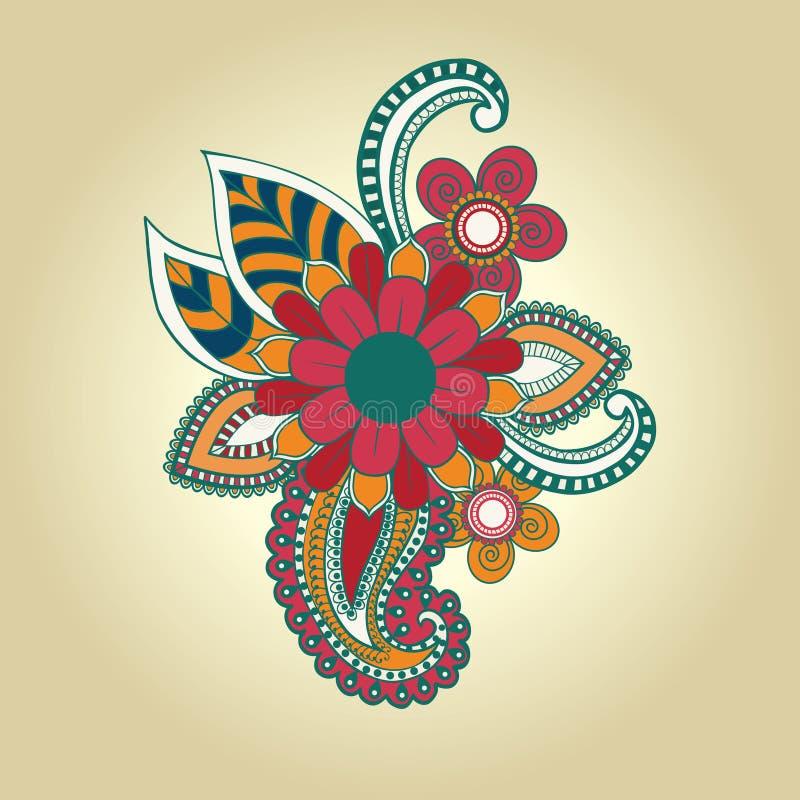Utformar abstrakta blom- beståndsdelar för vektor i indisk mehndi royaltyfri illustrationer
