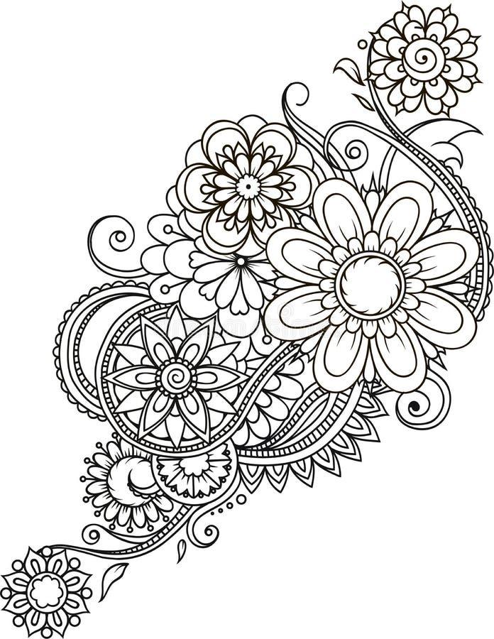 Utformar abstrakta blom- beståndsdelar för vektor i indisk mehndi abstrakt blank blom- illustrationvektor vektor illustrationer