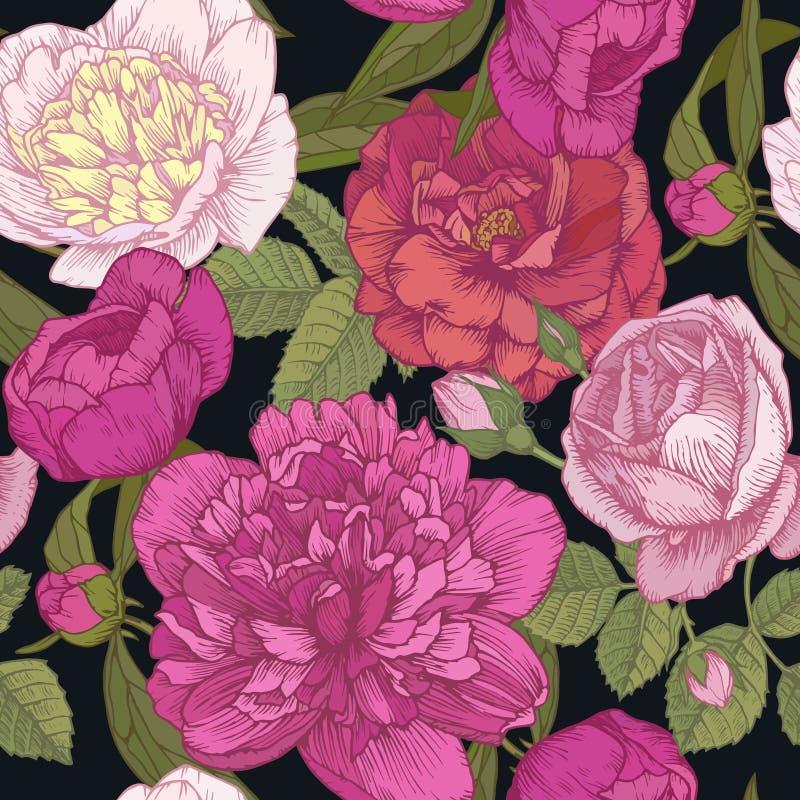 Utformar den blom- sömlösa modellen för vektorn med handen drog rosa och vita pioner, rosor i tappning stock illustrationer