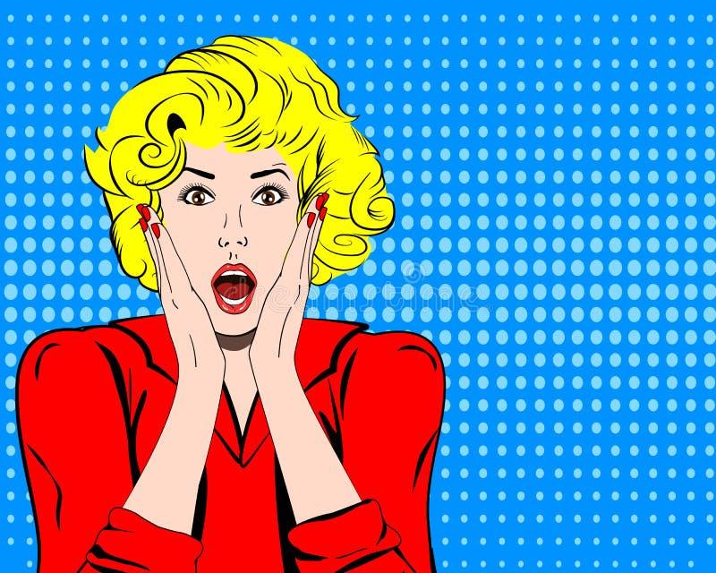 Utformar den chockade framsidan för vektorkvinnan med den öppna munnen i komiker för popkonst stock illustrationer