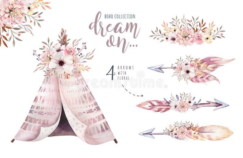 Utformar den färgrika person som tillhör en etnisk minoritetuppsättningen för vattenfärgen av pilar, tipin och blommor i indian I stock illustrationer
