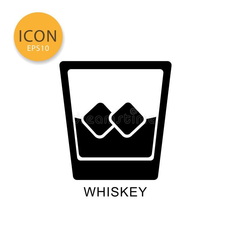 Utformar den glass symbolen för whisky som framlänges isoleras stock illustrationer