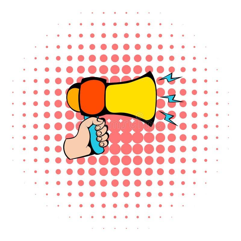 Utformar den hållande högtalaresymbolen för den manliga handen, komiker stock illustrationer