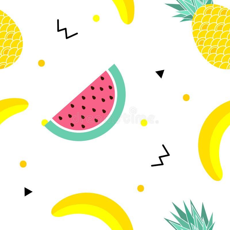 Utformar den sömlösa modellen för färgrik sommar med frukter, bananen, vattenmelon och geometriska beståndsdelar i memphis bakgru vektor illustrationer