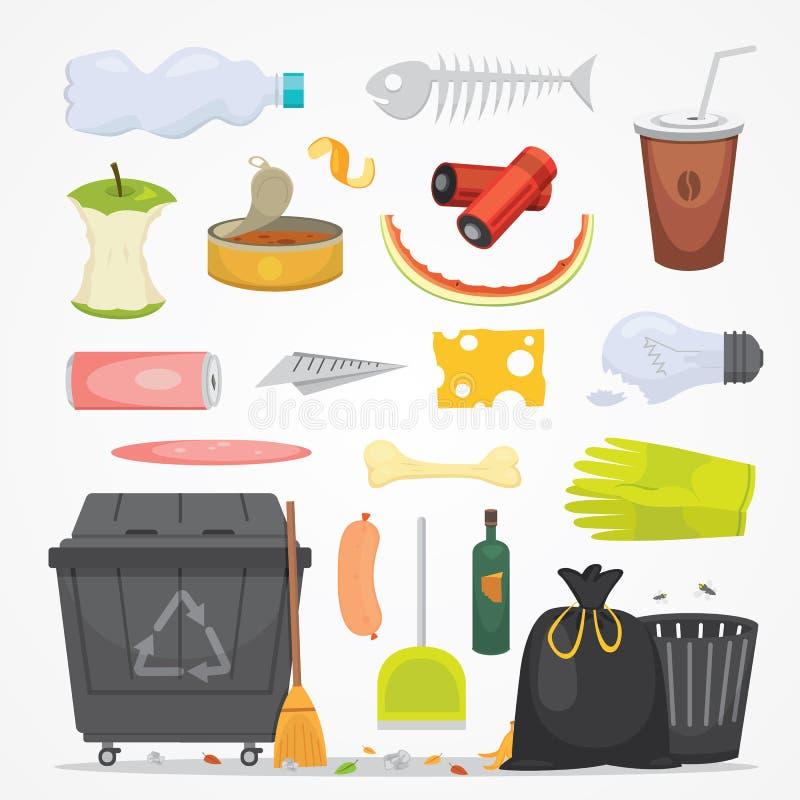 Utformar fastställda illustrationer för avfall och för avskräde i tecknad film Biologiskt nedbrytbar, plast-- och dumpstersymbole royaltyfri illustrationer