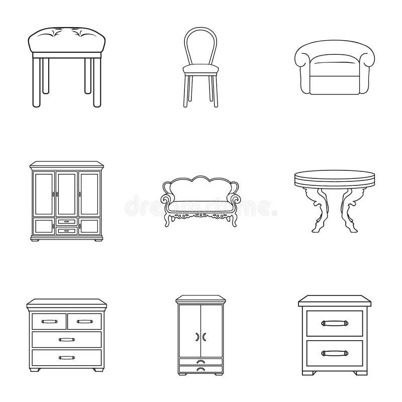 Utformar fastställda symboler för möblemang och för hemmiljö i översikt Stor samling av möblemang- och hemmiljövektorsymbolet stock illustrationer