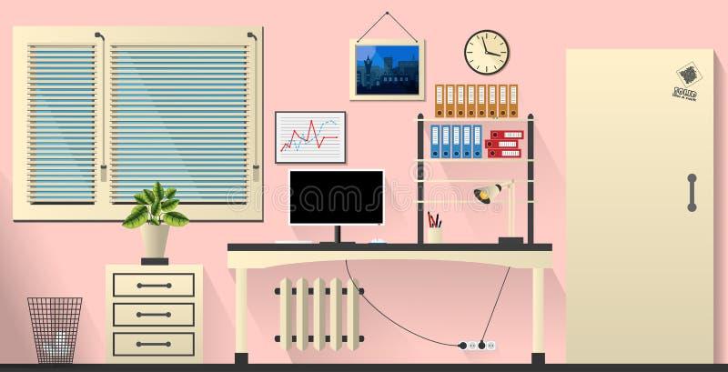 Utformar inre kontorsrum för den plana vektorn i anbudros och kräm stock illustrationer