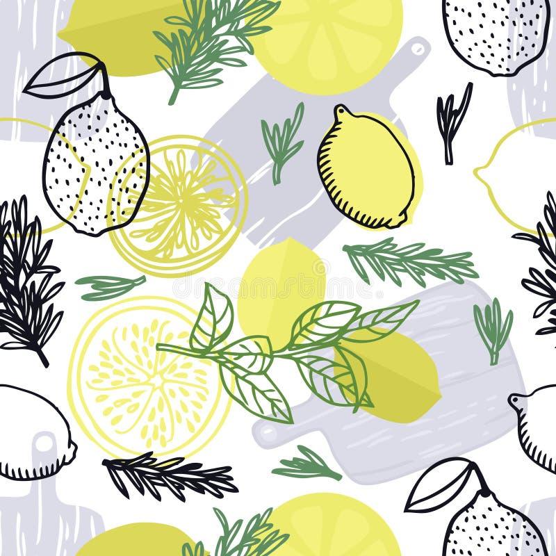 Utformar nya rosmarin för matsamling och den drog citronhanden den sömlösa modellen vektor illustrationer