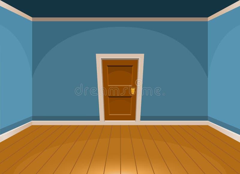 Utformar plant tomt rum för tecknade filmen med en dörr i blått stock illustrationer